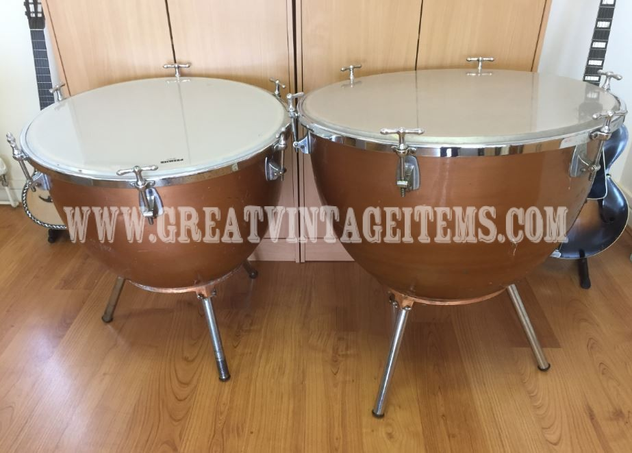 two premier hand timpani drums with tap handle tensioners 28 and 25 dia great vintage. Black Bedroom Furniture Sets. Home Design Ideas